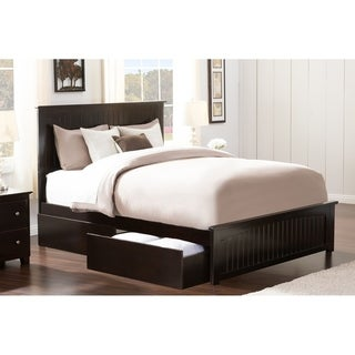 Nantucket Queen Bed with Matching Foot Board with 2 Urban Bed Drawers in Espresso