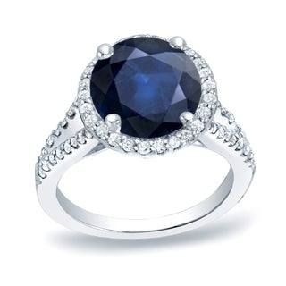 Auriya Platinum 1 1/5ct Blue Sapphire and 1/2ct TDW Diamond Halo Engagement Ring (H-I, SI1-SI2)