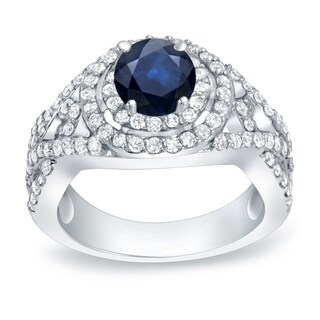 Auriya Platinum 1/2ct Blue Sapphire and 1ct TDW Diamond Halo Engagement Ring (H-I, SI1-SI2)