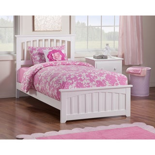Mission Twin XL Bed with Matching Foot Board in White