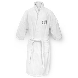White Railroad Robe with Silver Monogram