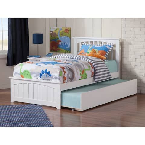 Mission White Twin Platform Bed with Urban Trundle Bed