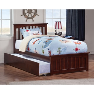 Mission Twin Platform Bed with Matching Foot Board with Twin Size Urban Trundle Bed in Walnut
