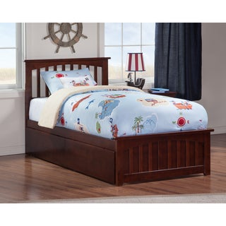 Mission Twin Platform Bed with Matching Foot Board with 2 Urban Bed Drawers in Walnut