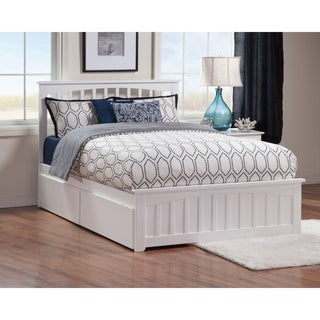 Mission Queen Platform Bed with Matching Foot Board with 2 Urban Bed Drawers in White