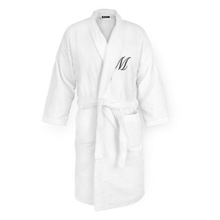 Kaufman Sugarcube White Robe with Personalized Black Monogram