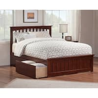 Mission Queen Platform Bed with Matching Foot Board with 2 Urban Bed Drawers in Walnut
