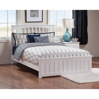 Mission Queen Bed with Matching Foot Board in White