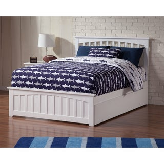 Mission Full Platform Bed with Matching Foot Board with Twin Size Urban Trundle Bed in White