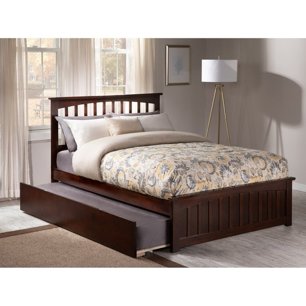 Mission Full Platform Bed with Matching Foot Board with Twin Size Urban Trundle Bed in Walnut