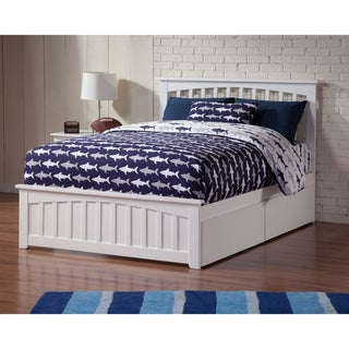 Mission Full Platform Bed with Matching Foot Board with 2 Urban Bed Drawers in White