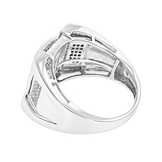 Luxurman Men's 10k Gold 1/2ct TDW Pave Diamond Fashion Ring (H-I, I2-I3)