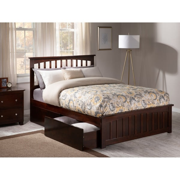 Mission Full Platform Bed with Matching Foot Board with 2 Urban Bed Drawers in Walnut
