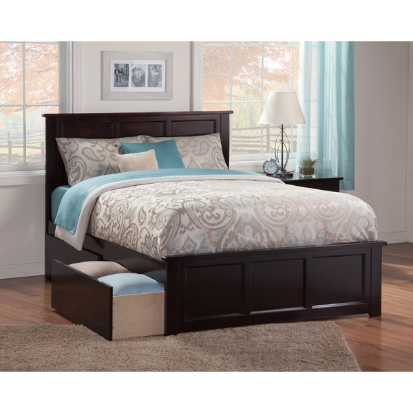 Madison Queen Bed With Matching Foot Board With 2 Urban Bed Drawers In Espresso Free Shipping