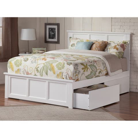 Madison Queen Platform Bed with Matching Foot Board with 2 Urban Bed Drawers in White