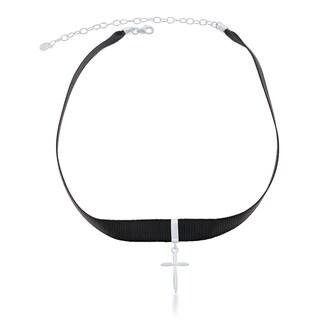 La Preciosa Sterling Silver Black Nylon with Cross Charm Choker