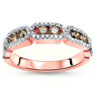 Noori 14k Rose Gold 5/8ct TDW Brown and White Diamond Wedding Band (H-I, SI2-I1)