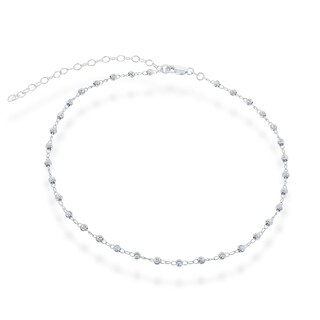 La Preciosa Sterling Silver Diamond-cut Beaded Choker (2 options available)