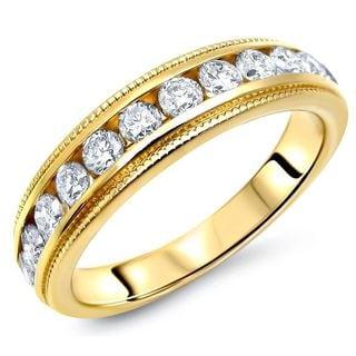 Noori 14k Yellow Gold 3/4ct TDW White Diamond Wedding Band (G-H, SI2-I1)