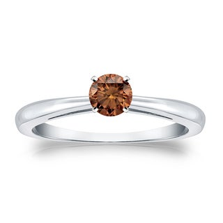 Auriya 14k Gold 1/4ct TDW 4-Prong Round Cut Brown Diamond Solitaire Engagement Ring (Brown, SI1-SI2)