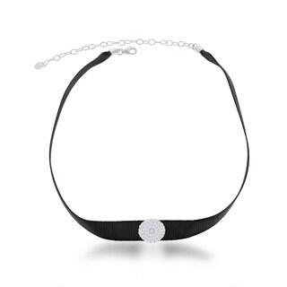 La Preciosa Sterling Silver Black Nylon with CZ Circle Disc Choker