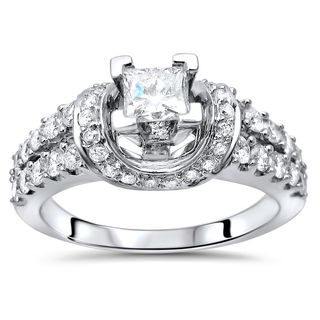 Noori 14k White Gold 1ct TDW Princess-cut Diamond Engagement Ring (G-H, SI1-SI2)