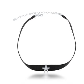 La Preciosa Sterling Silver Black Nylon with CZ Star Choker