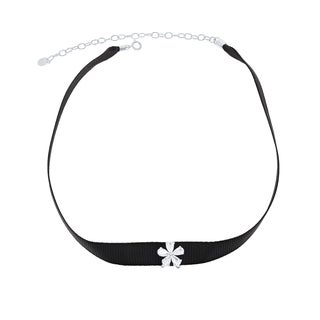 La Preciosa Sterling Silver Black Nylon with Cubic Zirconia Flower Choker