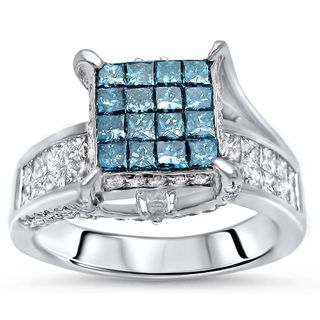 Noori GIA-certified 14k White Gold 2 1/2ct TDW Blue Invisible Set Diamond Engagement Ring (H-I, I1-I2)