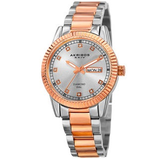 Akribos XXIV Women's Quartz Diamond Date Stainless Steel Two-Tone Bracelet Watch