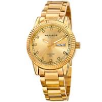 Akribos XXIV Women's Quartz Diamond Date Stainless Steel Gold-Tone Bracelet Watch