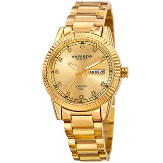 Akribos XXIV Women's Quartz Diamond Date Stainless Steel Gold-Tone Bracelet Watch with FREE Bangle