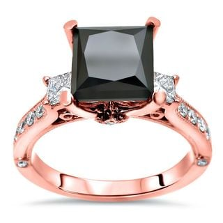 Noori GIA-certified 14k Rose Gold 2 1/2ct TDW Princess-cut Black Diamond Engagement Ring (F-G, SI1-SI2)