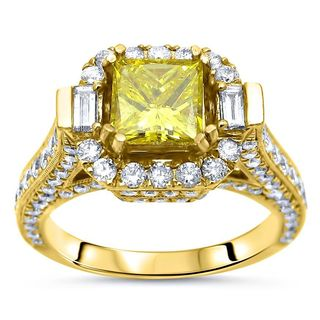 Noori 14k Yellow Gold 2 1/2ct TDW Princess-cut Yellow Diamond Engagement Ring (G-H, SI1-SI2)