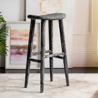 Safavieh 11-inch Colton Wood Black / White Washed Barstool