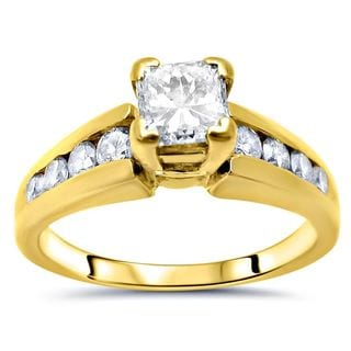 Noori 14k Yellow Gold 5/8ct TDW Princess-cut Diamond Engagement Ring (G-H, SI1-SI2)