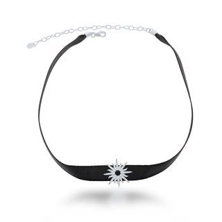 La Preciosa Sterling Silver Black Nylon with Cubic Zirconia Star Choker