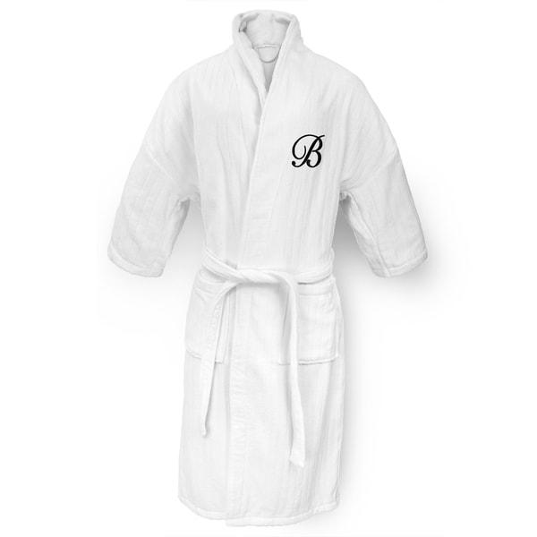 White Railroad Robe with Black Monogram