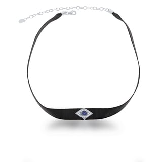 La Preciosa Sterling Silver Black Nylon with CZ Evil Eye Choker