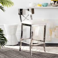 Safavieh 35-inch Zoey Stainless Steel Cross Back White Counter Stool