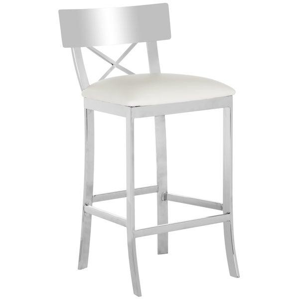 safavieh 35inch zoey stainless steel cross back white counter stool free shipping today