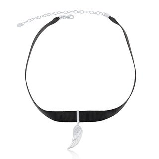 La Preciosa Sterling Silver Cubic Zirconia Accent Black Nylon Hanging Angel Wing Choker Necklace