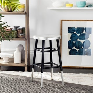 Safavieh 24 -inch Kenzie Silver Dipped Black / Silver Counter Stool