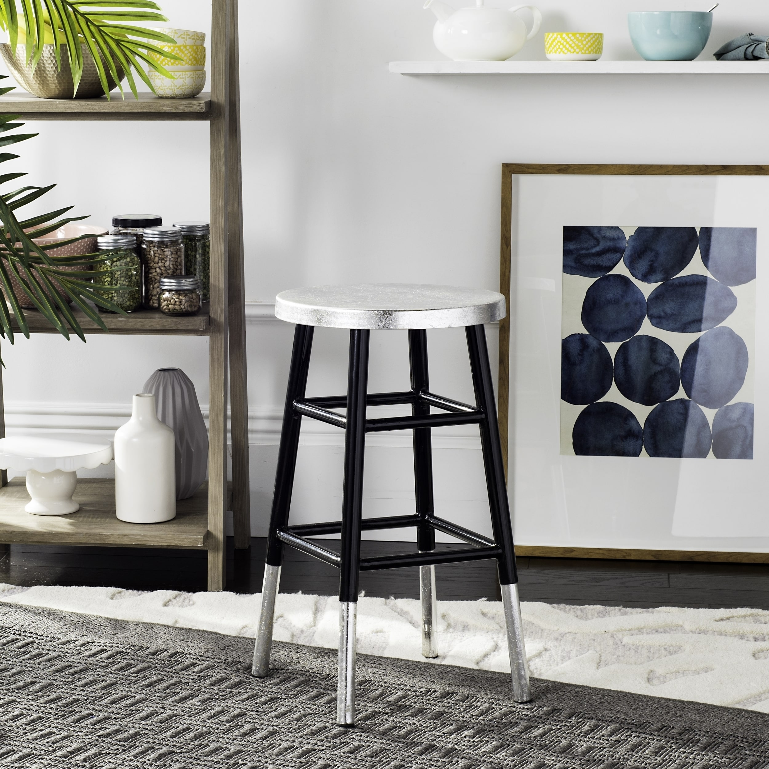 Cool Safavieh 24 Inch Kenzie Silver Dipped Black Silver Counter Stool Alphanode Cool Chair Designs And Ideas Alphanodeonline