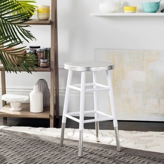 Safavieh 24 -inch Kenzie Silver Dipped White / Silver Counter Stool