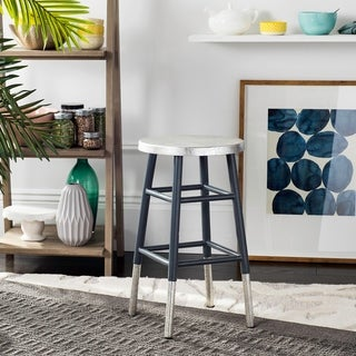Safavieh 24 -inch Kenzie Silver Dipped Grey / Silver Counter Stool