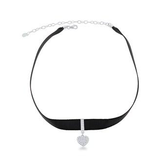 La Preciosa Sterling Silver Black Nylon Cubic Zirconia Hanging Heart Choker