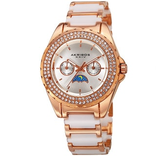 Akribos XXIV Women's Quartz Multifunction Crystal Rose-Tone/White Bracelet Watch