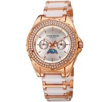 Akribos XXIV Women's Quartz Multifunction Crystal Rose-Tone/White Bracelet Watch with FREE Bangle
