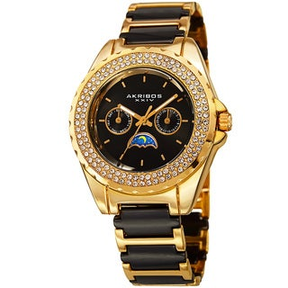 Akribos XXIV Women's Quartz Multifunction Crystal Gold-Tone Bracelet Watch